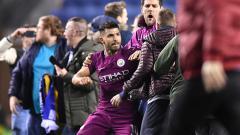 Indosport - Sergio Aguero pada laga saat melawan Wigan Athletic.