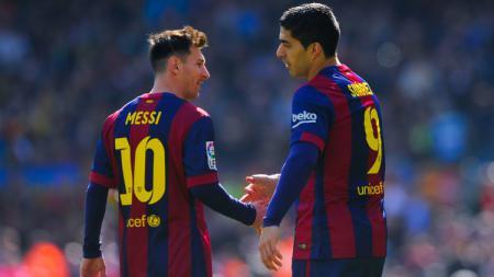 Messi dan Suarez merupakan dua rekan idaman Antoine Griezmann di Barcelona. - INDOSPORT