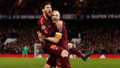 Indosport - Selebrasi Lionel Messi dan Andres Iniesta.