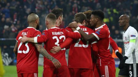 Perayaan gol para penggawa Bayern Munchen. - INDOSPORT