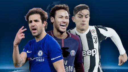 Cesc Fabregas, Neymar, dan Paulo Dybala. - INDOSPORT