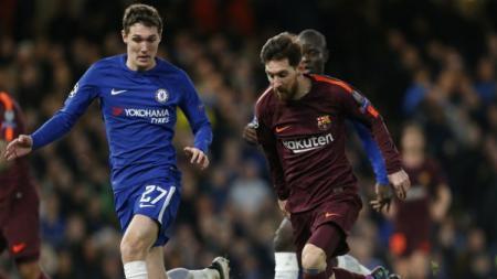 Bek Chelsea Andreas Christensen dan penyerang Barcelona, Lionel Messi - INDOSPORT