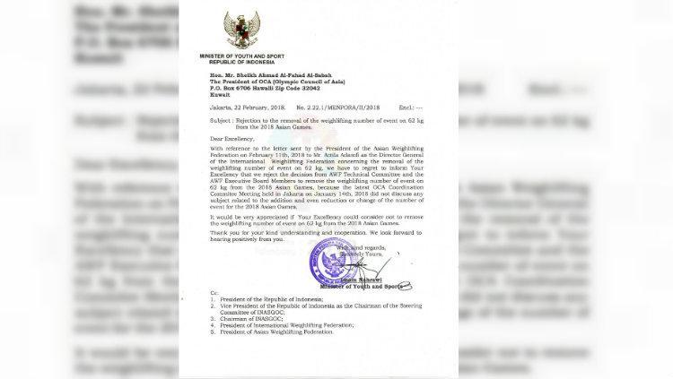 Surat protes Menpora terkait akan dihapuskannya kelas angkat berat 62 kg Copyright: Kemenpora