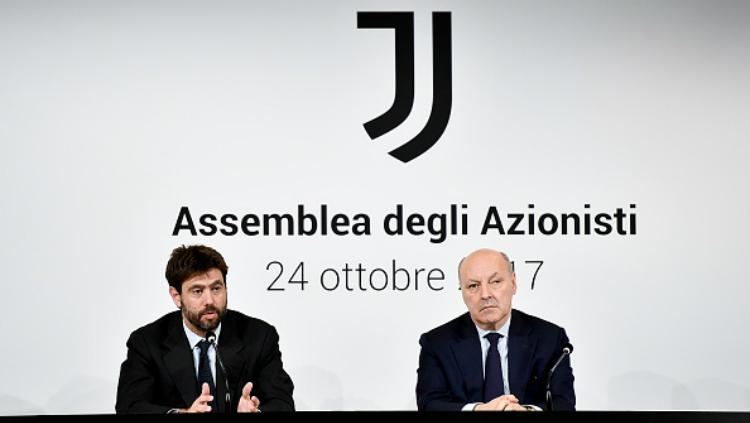 Petinggi Juventus (Andrea Agnelli dan Giuseppe Marotta) Copyright: Getty Images
