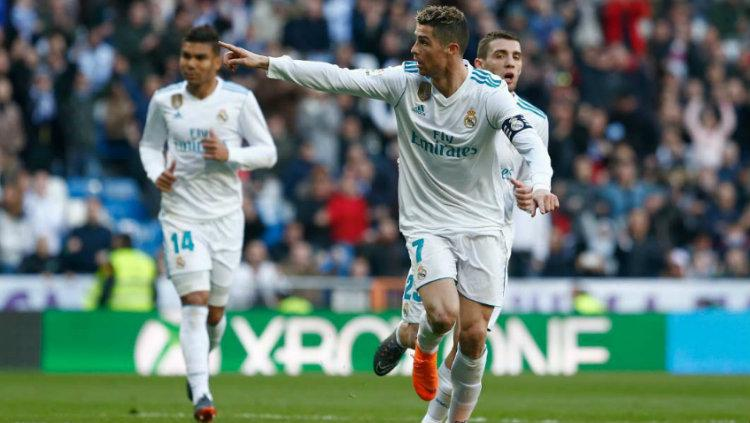 Selebrasi Cristiano Ronaldo ketika merayakan gol. Copyright: indosport.com