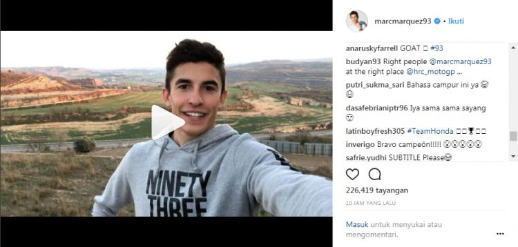 Marc Marquez Copyright: Instagram