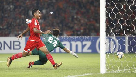 Momen ketika Persija berhasil membobol gawang Tampines Rovers.