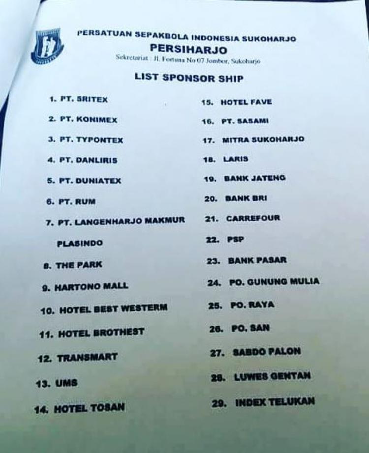 Daftar Sponsor Persiharjo Sukoharjo Copyright: Istimewa
