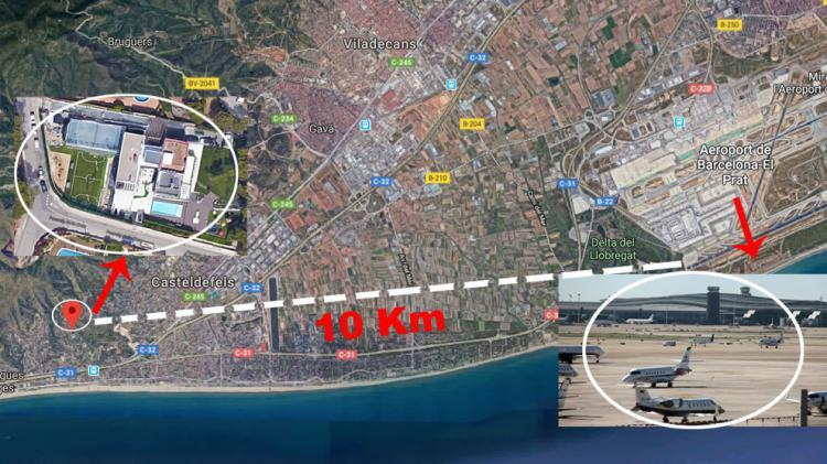 Denah bandara dan lokasi rumah Messi Copyright: Marca