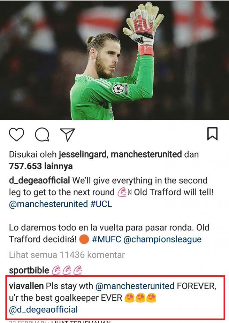 Via Vallen rayu De Gea bertahan di Manchester United Copyright: Instagram.com/@d_degeaofficial
