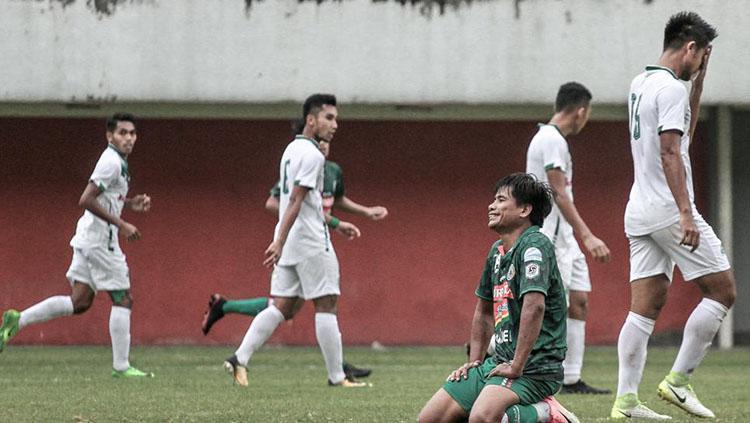 Raut kekecewaan pemain PSS Sleman usai kalah dari PSMS Medan di laga uji coba. Copyright: psssleman.co.id