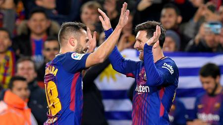 Lionel Messi dan Jordi Alba merupakan dua pemain Barcelona yang memiliki chemistry kuat. Kombinasi Messi dan Alba sering memecah kebuntuan bagi Blaugrana. - INDOSPORT
