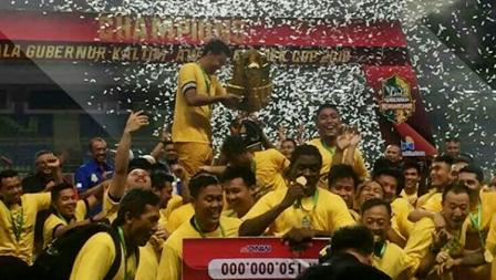 Keseruan tim Sriwijaya FC saat merayakan kemenangan.