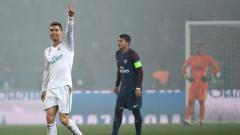 Indosport - Selebrasi Cristiano Ronaldo usai membobol gawang Paris Saint-Germain.