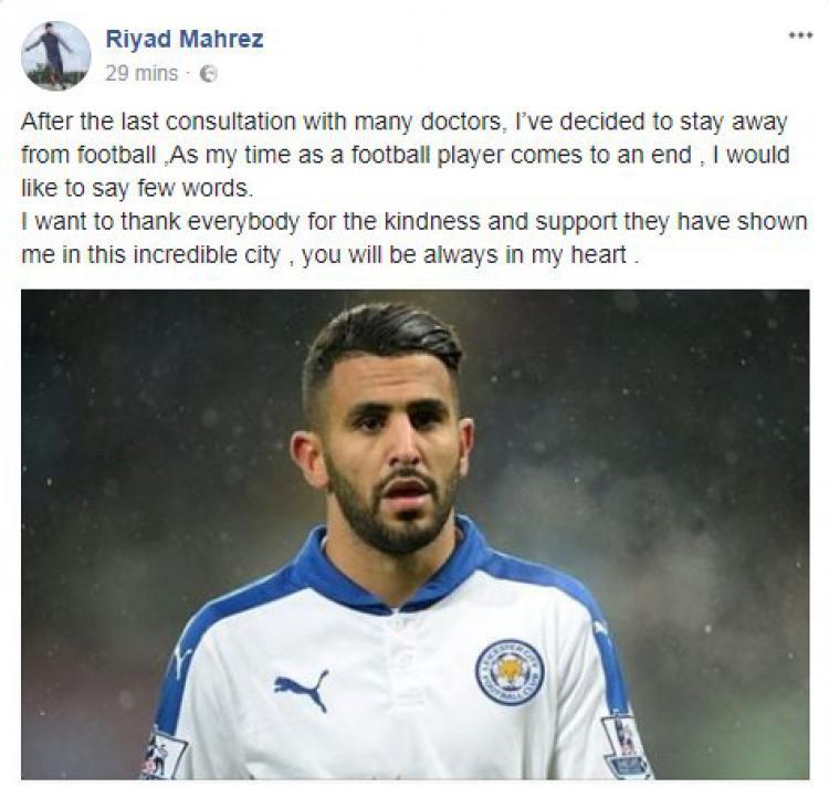 Postingan Mahrez. Copyright: Facebook