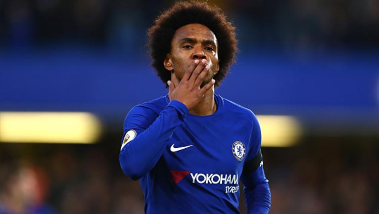 Willian menyumbang gol dalam kemenangan 2-1 Chelsea atas Crystal Palace. Copyright: Getty Images