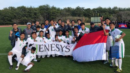 Timnas Indonesia U-16 jadi juara di turnamen Jenesys 2018. - INDOSPORT