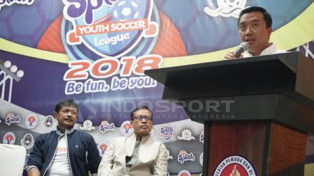Imam Nahrawi memberikan pidato dalam jumpa pers Splash Youth Soccer League 2018. - INDOSPORT
