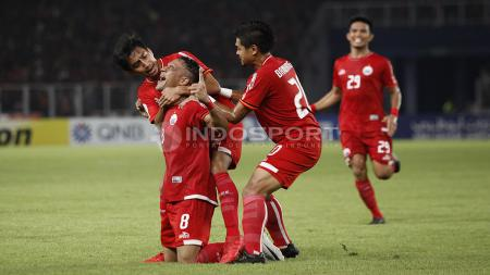 Selebrasi para pemain Persija Jakarta atas gol yang diciptakan Addison Alves. - INDOSPORT