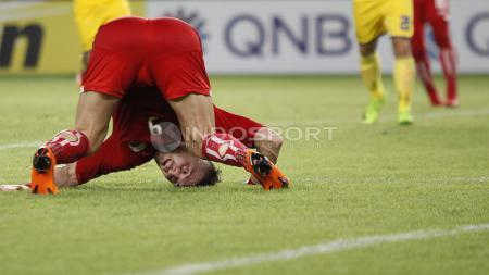 Ekspresi Marko Simic usai melakukan sundulan yang gagal menjadi gol. - INDOSPORT