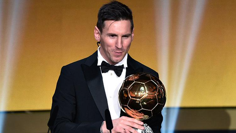 Lionel Messi saat memenangkan Ballon d Copyright: Getty Images