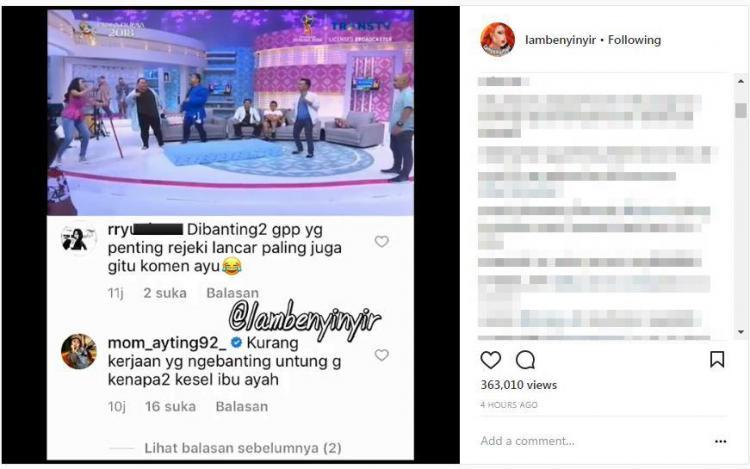 Komentar Ibu Ayu Ting Ting Copyright: instagram