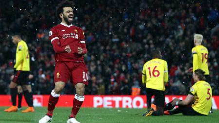 Mohamed Salah selebrasi pasca mencetak gol ke gawang Watford. - INDOSPORT