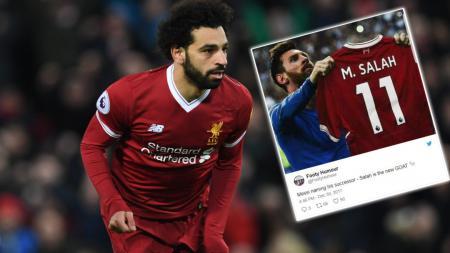 Mohamed Salah dan Lionel Messi. - INDOSPORT