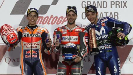 Podium juara di seri perdana MotoGP Qatar 2018. - INDOSPORT