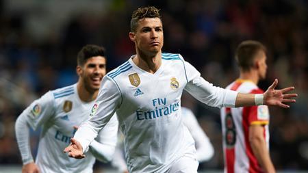 Selebrasi Cristiano Ronaldo usai mencetak gol ke gawang Girona. - INDOSPORT
