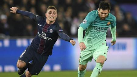 Gelandang PSG, Marco Verratti dan penyerang Barcelona, Lionel Messi - INDOSPORT