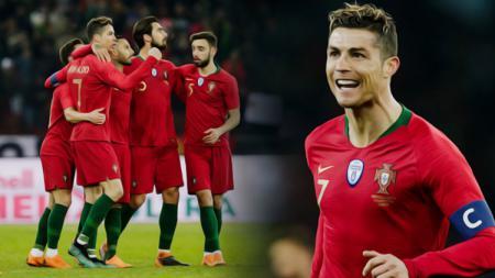 Cristiani Ronaldo berhasil mencetak dua gol ke gawang Timnas Mesir. - INDOSPORT
