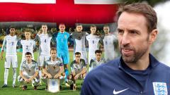 Indosport - Gareth Southgate dan skut Timnas Inggris.