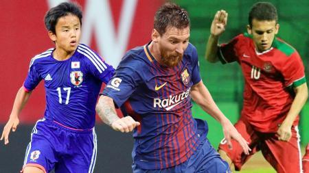 Takefusa Kubo, Lionel Messi dan Egy Maulana Vikri. - INDOSPORT