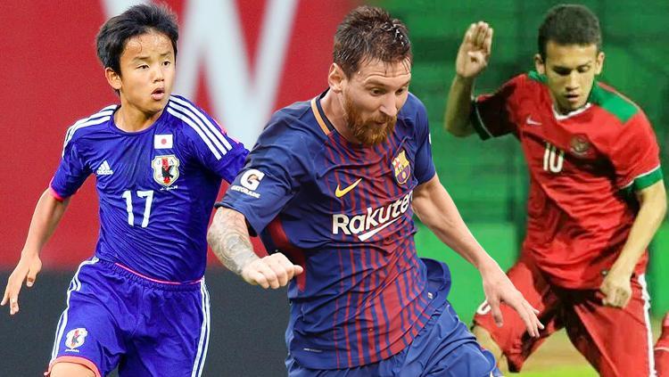 Takefusa Kubo, Lionel Messi dan Egy Maulana Vikri. Copyright: INDOSPORT