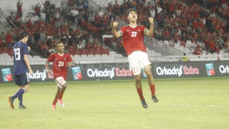 Aji Kusuma merayakan golnya ke gawang Jepang U-19. - INDOSPORT