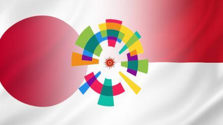 Bendera Jepang, logo Asian Games, dan bendera Indonesia. - INDOSPORT