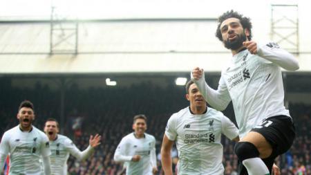 Mohamed Salah menjadi pahlawan kemenangan Liverpool saat melawan Crystal Palace (31/03/18). - INDOSPORT