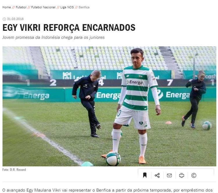 Egy Maulana Vikri dirumorkan media massa Portugal gabung Benfica. Copyright: record.pt