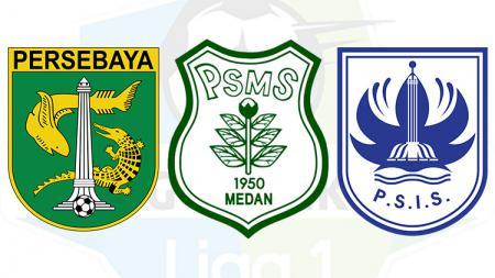 Logo Persebaya Surabaya, PSMS Medan, dan PSIS Semarang. - INDOSPORT