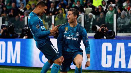 Selebrasi Ronaldo setelah bobol gawang Buffon di menit awal. - INDOSPORT