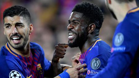 Manchester City kabarnya meminati Samuel Umtiti, yang kini bermain untuk klub LaLiga Spanyol, Barcelona. - INDOSPORT