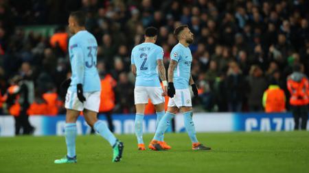 Skuat Manchester City saat dipastikan kalah dari Liverpool. - INDOSPORT