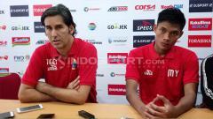 Indosport - Pelatih Persija Jakarta, Stefano Cugurra Teco, dalam konferensi usai melawan PSMS Medan.