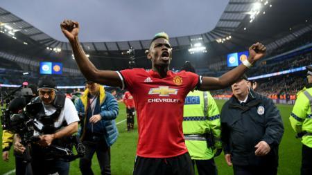 Selebrasi Paul Pogba usai cetak gol ke gawang Man City - INDOSPORT