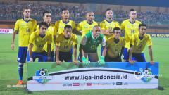 Indosport - Skuat Barito Putera di laga Liga 1 2018.