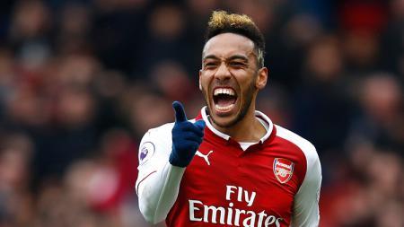 Aksi selebrasi Pierre-Emerick Aubameyang usai mencetak gol ke gawang Southampton pada menit ke-28'. - INDOSPORT
