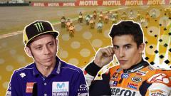 Indosport - Marc Marquez dan Valentino Rossi.