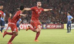 Indosport - Selebrasi Marko Simic usai mencetak gol pertama ke gawang JDT.