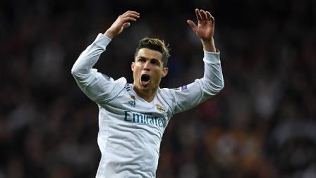 Aksi selebrasi Cristiano Ronaldo.